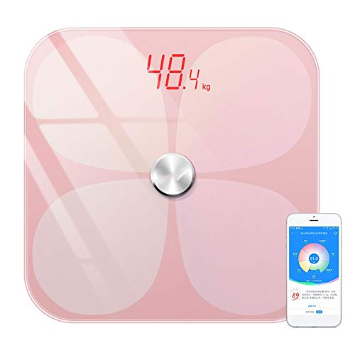 MQQ Intelligente Digitalwaage Badezimmer-Präzisions-Mess-Gewichts-Fettwaage (Color : Pink)