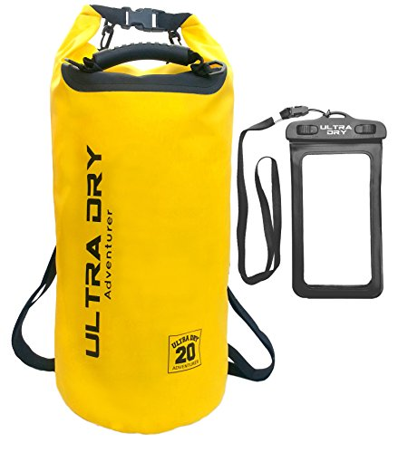 Premium wasserdichte Tasche, Sack, wasserdichter Handybeutel und langer, verstellbarer Schultergurt inklusive, geeignet zum Kajak-, Boot-, Kanufahren/Angeln/Rafting/Schwimmen/Camping/Snowboarden, gelb