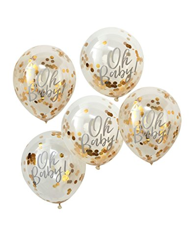Ginger Ray Luftballons für perfekte Dusche, 5 Stück, Goldfolie, gefüllt, Oh Baby