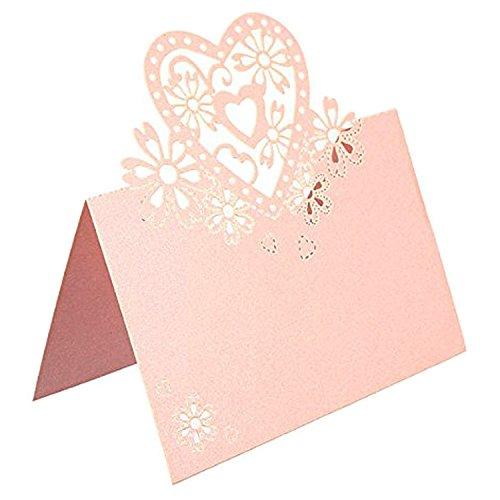 ser-Schnitt-Tabellen-Zahl-Namensschilder Personalisierte leere Abendessen-Platz-Karten für Hochzeits-Parteien Rosa (Herz-printable)