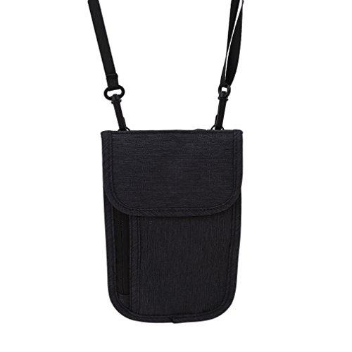 LnLyinl lnlyin Premium Hals Stash Wallet RFID-blockierender Reisen Passport Halter Tasche für Damen & Herren, Polyester, Schwarz, 21.5 * 13.3cm (Für Männer Passport-halter Hals)