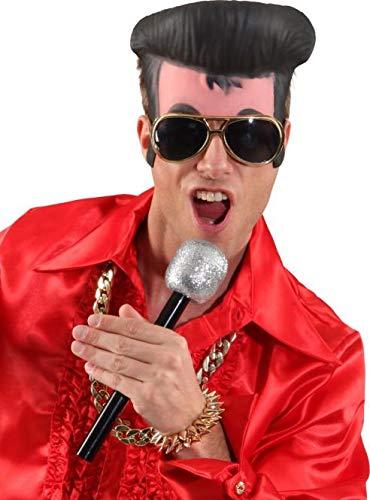 shoperama 3-TLG. Rockstar Set Elvis Stirn-Maske Sonnenbrille Mikrofon Kostüm-Zubehör 50er Jahre King of Rock 'n' Roll Accessoires