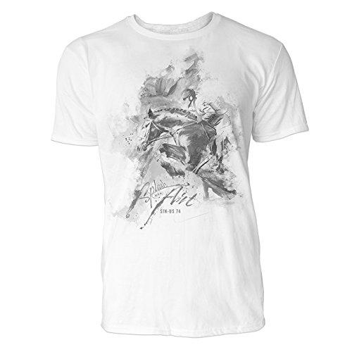 Pferdesport seitlich Sinus Art ® Herren T Shirt ( Schwarz Weiss ) Sportshirt Baumwolle