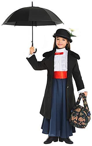 Costume di carnevale da tata mary vestito per ragazza bambina 7-10 anni travestimento veneziano halloween cosplay festa party 52359 taglia 10/xl