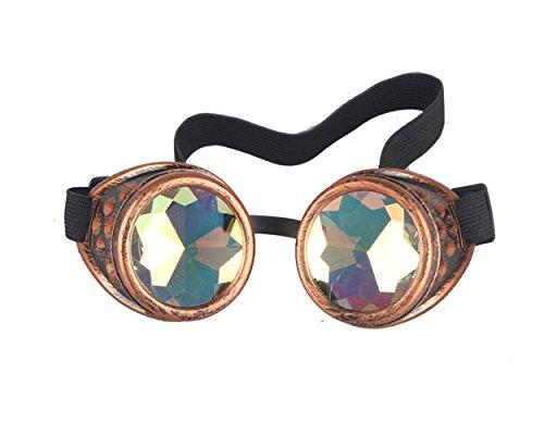 AFUT Steampunk-Brille, leuchtend, Kaleidoskop-Brille, Punk, Gothic, Cosplay, mit Fernbedienung, rot, Style 1