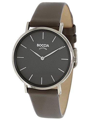 Boccia Damen Analog Quarz Uhr mit Leder Armband 3273-01