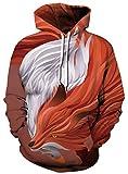 Ocean Plus Uomo Felpa con Cappuccio Lupo Tigre Stampato Manica Lunga Pullover Unisex Sweatshirt con Tasche (XXL/3XL (Torace: 126-146CM), Volpe e Oca Bianca)