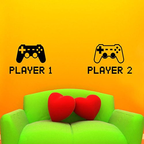 Preisvergleich Produktbild masrin Spiel Foever Eat Sleep Game On Gamepad Muster Wallsticker Set Home Decor Funny Slogan Lifestyle Zitat bedruckt Modern PS PS2 PS3 PS4 Controller Pad Dualshock Wand Aufkleber für Hardcore Video Game Player, schwarz