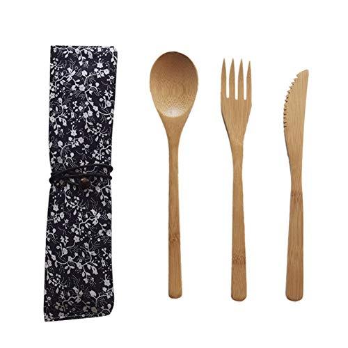 Cutlery Set Bambus Besteck Gabel Messer Löffel Set Besteck Set Bambus Utensil Camping Besteck Bambus Geschirr mit Tragetasche von Iswell Besteck Utensil