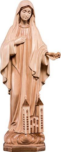 Ferrari & Arrighetti Imagen de la Virgen de Medjugorje en Talla de Madera Encerada con 3 Tonos - Mide 10 cm - Demetz Deur