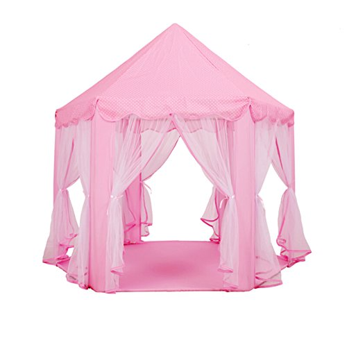 GuSTX Spielzelt Kinderzelt Kinderzimmer Spielhaus für Mädchen Prinzessin Schloss Zelt Kinder Spielzelt Pop up Kinderspielzelt Innen und Draußen Spielen Zelt (Rosa) (Zelt Pop-up Innen)
