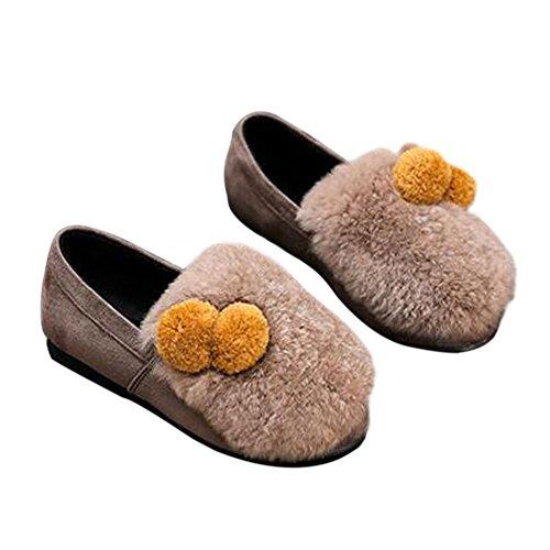 Meijunter Printemps Enfants Filles Duveteux Peluche Princesse Shoes Warm Soft Chaussures yellow