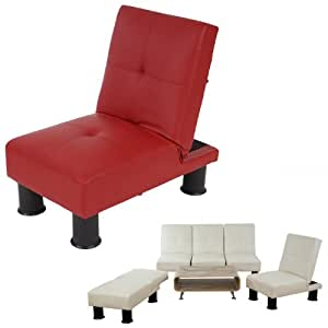 Fauteuil relax Canap? convertible lit d'amis lit d'appoint Melbourne II ~ similicuir, rouge