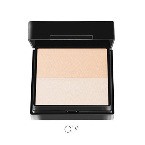 Moresave Foundation Maquillage Visage Poudre Concealer Contour pressé Compact Poudre avec miroir, deux couleurs
