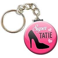 PORTE CLÉS Chaînette 3,8 cm ✩ Super Tatie ✩ (idée cadeau tata ma tante)