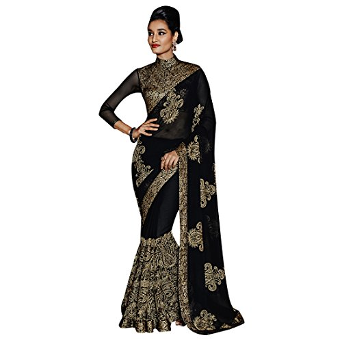 Craftsvilla Women's Georgette Saree Embroidered Black Color with Blouse Piece