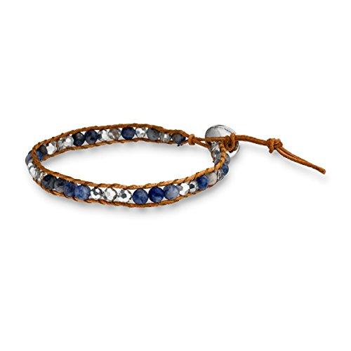 glanzstucke-munchen-damen-echtlederarmband-braun-sterling-silber-sandstein-blau-17-5-cm-ethno-armban