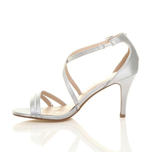 Donna tacco alto medio cinghietti incrociato matrimonio sera sandali taglia Raso argento