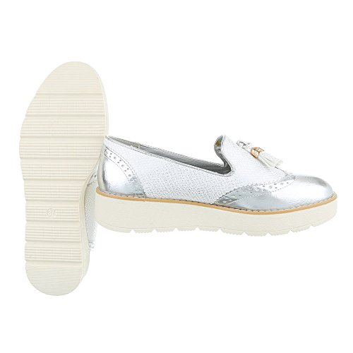Ital-Design Slipper Damenschuhe Slipper Moderne Halbschuhe Silber