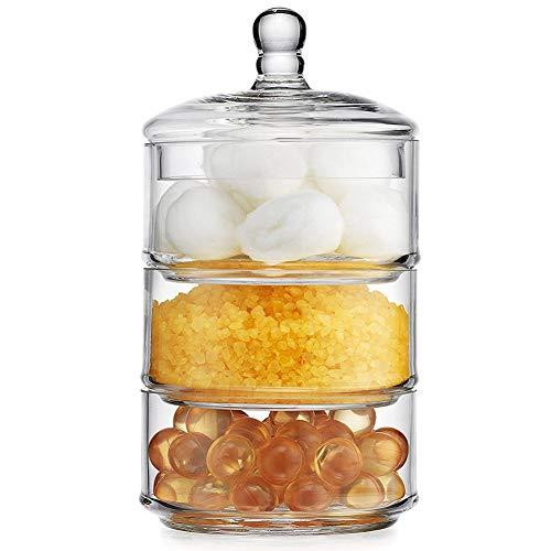 Bakaji home contenitore barattolo porta dolci bon bon con 3 barattoli impilabili in vetro e coperchio per confettata feste e cerimonie