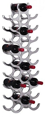 FineBuy Weinregal Design 98 cm für 27 Flaschen Aluminium Silber