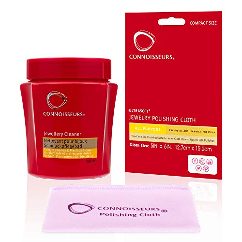 Connoisseurs Precious Jewellery Cleaner Kit - Gold Diamond Platinum & White Gold Cleaner for Jewellery Rings Watches and Earrings   Jewellery Cleaner Solution + 1 Dry Cleaning Cloth