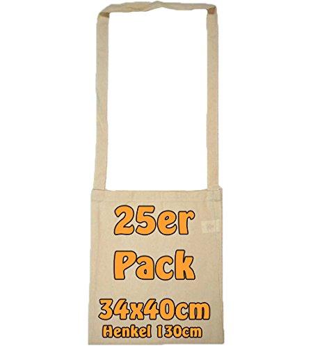 Baumwolltasche Umhängetasche unbedruckt mit extra langem Henkel ideal als Kamellebeutel für Wurfmaterial oder als Sammelbeutel für Karneval Natur 34x40cm 25 Stück