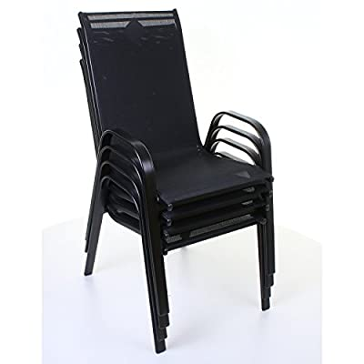 Black Stacking Textoline Chairs Outdoor Garden Furniture High Back Seating Patio - low-cost UK light shop.