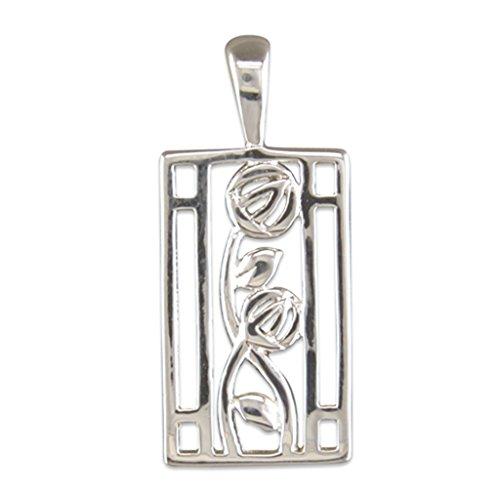 Da uomo, in argento Sterling Rennie Mackintosh Stile rettangolare Ciondolo su collana di corda in (Rennie Mackintosh Gioielleria)
