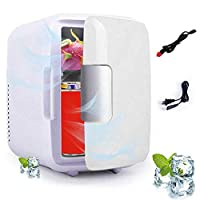 Goglor Mini Fridge, 4 Liters Portable Mini Refrigerator Cooler and Warmer with AC/DC Power Cords, Super Quiet In-Vehicle Freezer for Car, Bedroom, Office