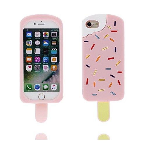 """Hülle iPhone 7 Plus Cover, 3D Cartoon Eis am Stiel, Case iPhone 7 Plus Handyhülle, TPU Flexible Durable Shock Dust Resistant, Shell iPhone 7 Plus Cover 5.5"""" rosa"""
