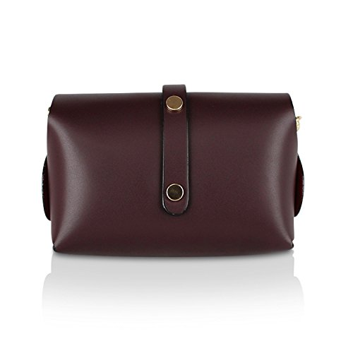 Glamexx24 Damen Clutch echt Leder Tasche Abendtasche mit Kette Handtasche Schultertasche Made in Italy 1.002.3 Bordeaux