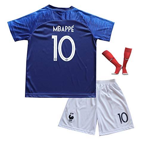 BTA APPAREL 2018/2019 Frankreich #7 Kylian MBAPPE Heim Kinder Fußball Trikot Hose und Socken Kindergrößen (10-12 Jahre)