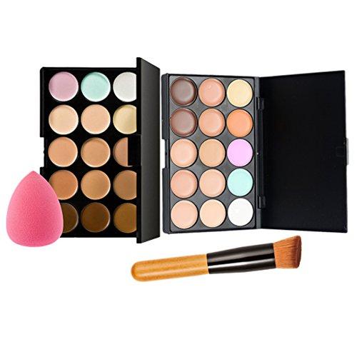 perfk 2x Palette de Correcteur Surligneur de 15 Couleurs / Palette de Contour Anti-cernes + Pinceau de Maquillage + Eponge Puff