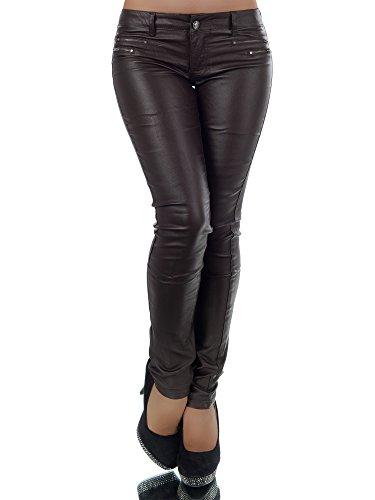 L521 Damen Jeans Hose Hüfthose Damenjeans Hüftjeans Röhrenjeans Leder-Optik, Farben:Braun;Größen:34 (XS) (Naht Jeans Hose Knie)