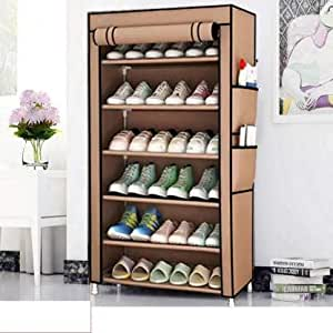 2001 International Trouble-Free Beige Shoe Rack for Home & Kitchen Decor, Shoe Stand of 6 Tier