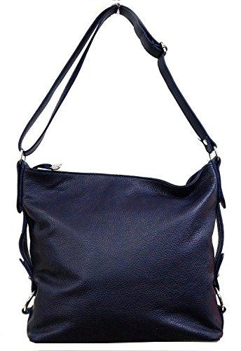 Umhängetasche Leder Schulter Shopper mit Mod 2014 Leder Italy Mittelgroß Reißverschluss echt Violett Lila p qaraw