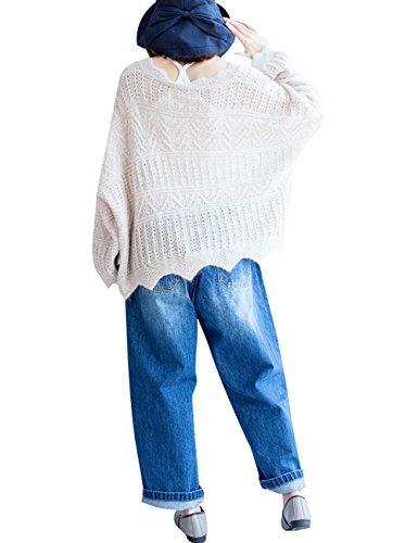 Youlee Femmes Hiver Automne Lâche pull en coton Style 1 Blanc