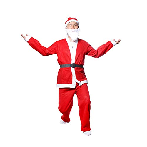 MarryoU Unisex Weihnachtsmann Kostüm Herren Damen Santa Claus Deluxe Kostüm Set, Santa Claus Cosplay Verkleidung Mantel, 5-teilig: Jacke, Hose, Bart, Mütze, Gürtel Größe S-XL (F, Rot) (Santa Jacke Kostüm)