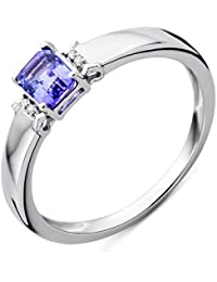 Miore Women's 9 ct White Gold Emerald Cut Diamond Tanzanite Ring