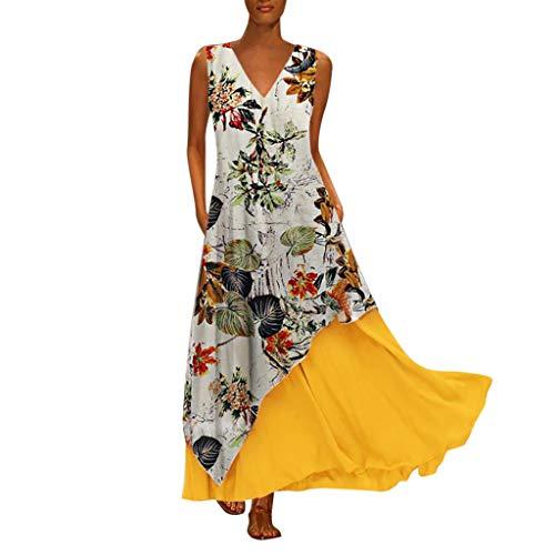 Tohole Damen Strandkleider Türkischer Stil Boho Lose Tunika Lange Sommerkleider Shirt Strandhemd Kleid Urlaub Vintage unregelmäßiges Kleid(Gelb-K,L)