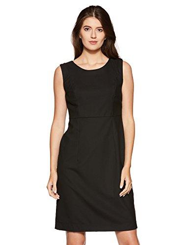 Park Avenue Women A-Line Knee-Long Dress (PWEZ00674-K8_96_Black)