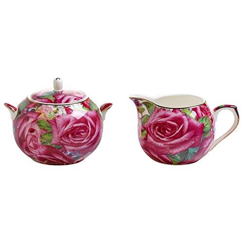 Maxwell & Williams Royal Old England Milch/Zucker-Set, Porzellan, pink, 11.4 x 35.6 x 55.2 cm, 2-Einheiten