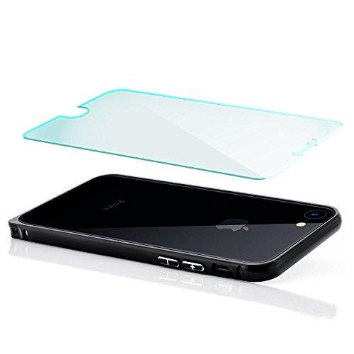 Saxonia Aluminium Bumper + Panzerglas iPhone 7 Ultra Slim Alu Case Rahmen Diamantschwarz Diamantschwarz