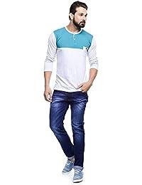 MakeOver Faded Blue Cotton Slim Fit Jeans For Men