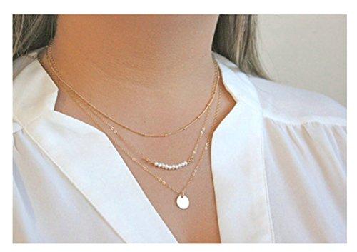 Epinki Multilayer Kette Halskette Perlen Runde Anhänger Statementkette Gold