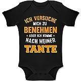 Shirtracer Sprüche Baby - Ich versuche Mich zu benehmen Aber ich komme nach meiner Tante orange - 1-3 Monate - Schwarz - BZ10 - Baby Body Kurzarm Jungen Mädchen