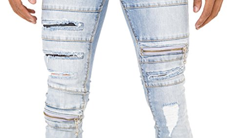 Retro-Herren-Jeans Rip and Zip, stretch, Super Skinny, Punk Jeans Light Wash