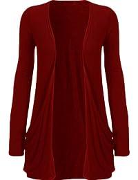 New pour femme uNIQUE causal plus cardigan gilet en jersey pocket t-shirt boyfriend 8–26 (wine, uK 8–10/eU 36–38)