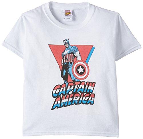 Marvel - Captain America Standing, T-shirt per bambini e ragazzi, bianco (white), 7 anni (Taglia produttore:7-8 anni)